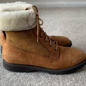ROCKPORT Shearling cuffed Leather ankle boots SZ 8